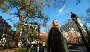 Kristin Jones with the hangman's elm at Washington Square Park
